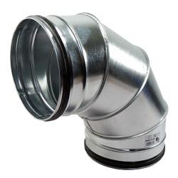 Galvanizált fém könyökidom 90° préselt gumi tömítéssel - Ø 160 mm