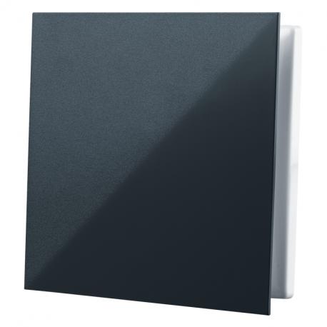 Dekoratív PVC szellőzőrács rovarhálóval, sima előlappal 160x160 mm, fekete