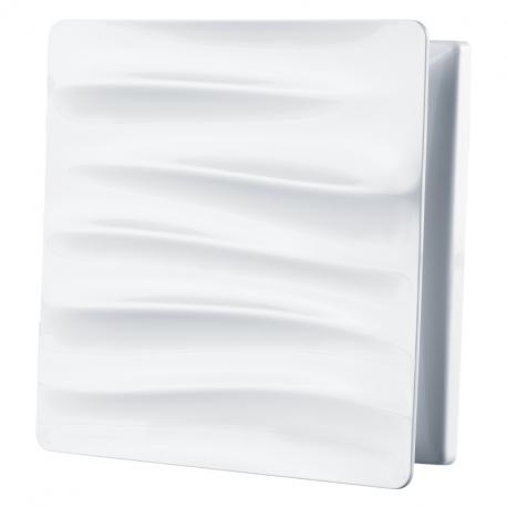 Dekoratív PVC szellőzőrács rovarhálóval, hullám motívumos előlappal 160x160 mm, fehér