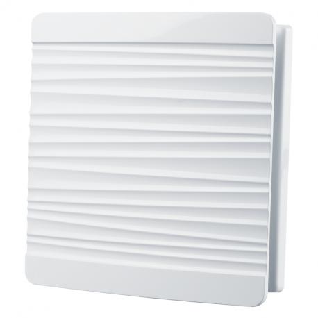 Dekoratív PVC szellőzőrács rovarhálóval, csíkozott előlappal 160x160 mm, fehér
