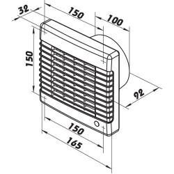 Fürdőszoba ventilátor Dalap 100 LVMZ, emelt teljesítménnyel időzítővel és mozgásérzékelővel