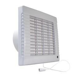 Fürdőszobai ventilátor automata zsaluval, húzókapcsolóval és időzítővel Ø 150 mm, gazdaságos és csendes