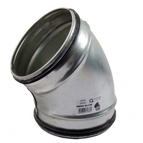 Galvanizált fém könyökidom 45° préselt gumi tömítéssel - Ø 80mm