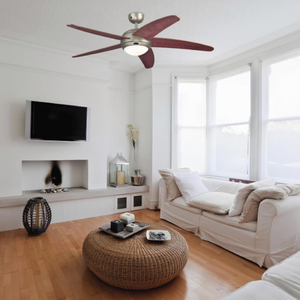 Mennyezeti ventilátor Westinghouse Bendan távirányítású, almafa